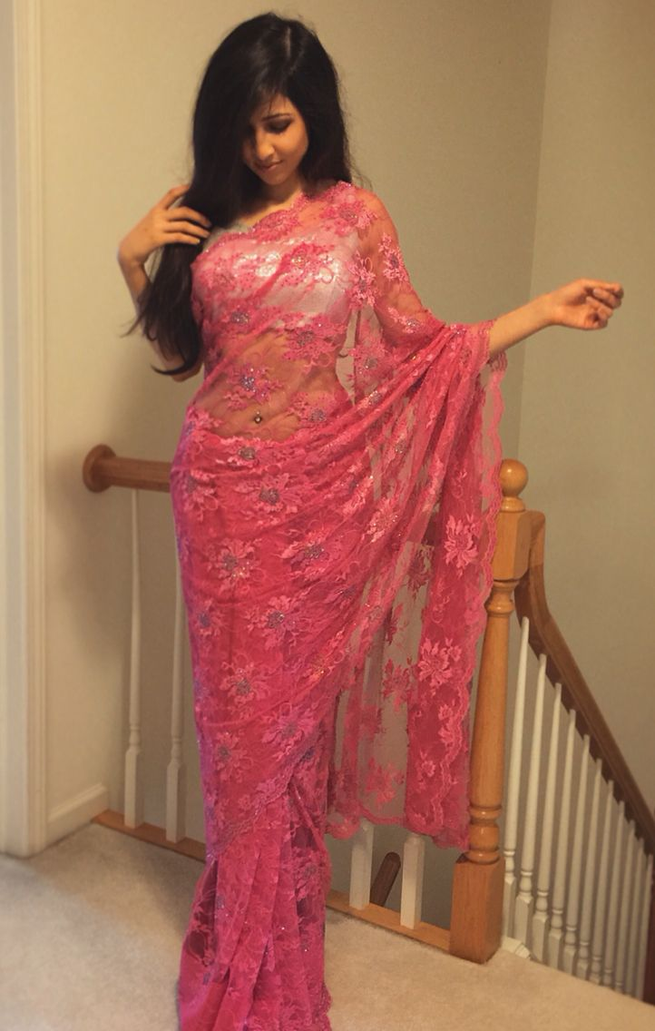 Pink lace saree #sari