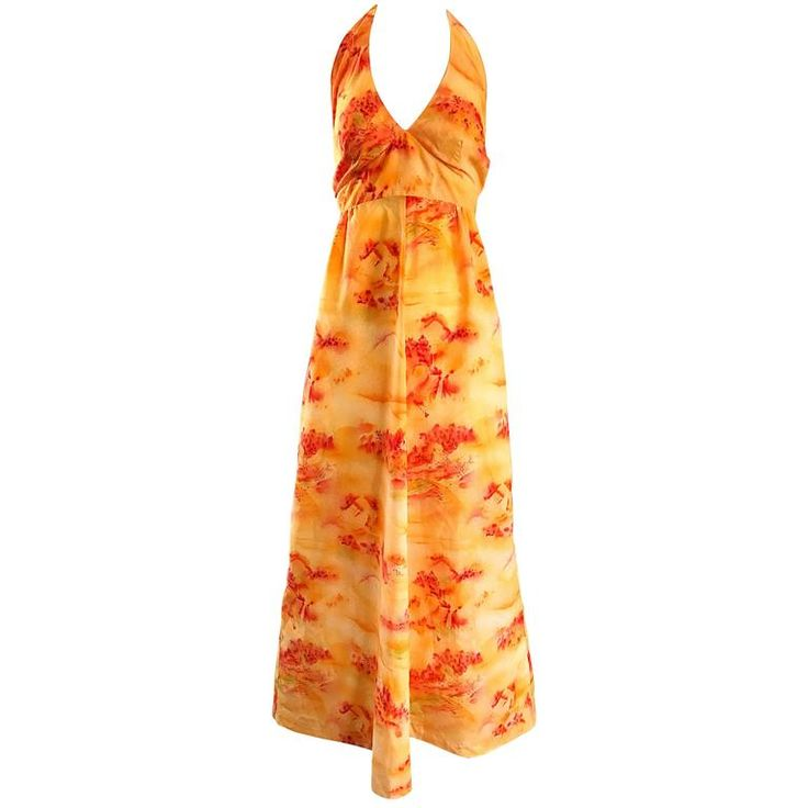 Incredible 1970s Asian Themed Bright Orange Vintage 70s Novelty Maxi Dress  | From a collection of rare vintage maxi-dresses at https://www.1stdibs.com/fashion/clothing/day-dresses/maxi-dresses/