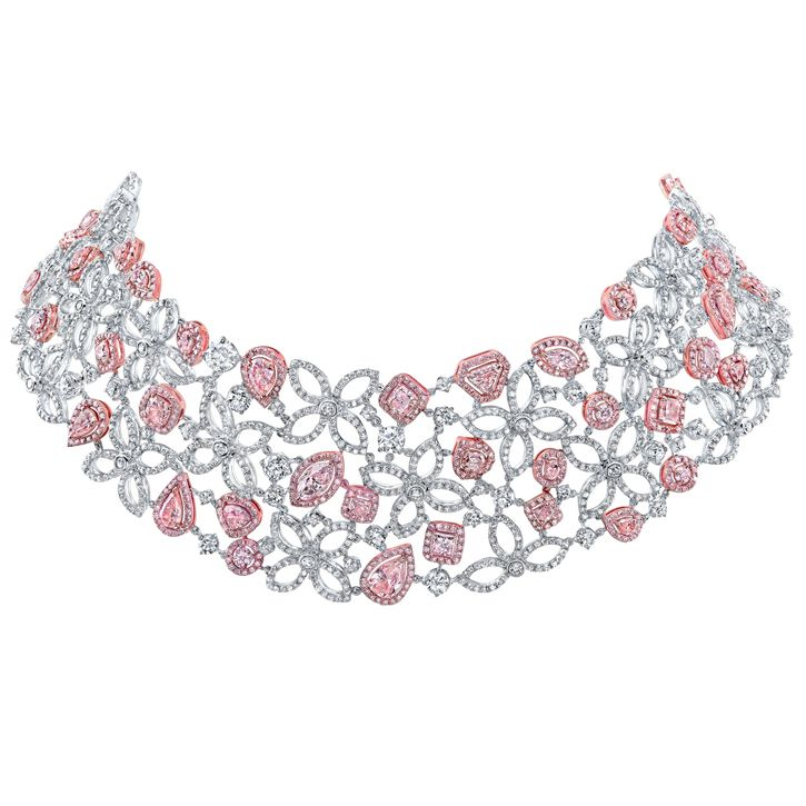 Extraordinary one-of-a-kind diamond necklace composed of 3183 diamonds (64.02 carats), including 813 natural untreated pink diamonds (31.34 carats) and 2379 white diamonds (32.68 carats), by Tivoli Jewels