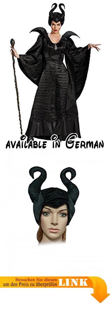 Damen-Kostüm Maleficent schwarz Böse Fee Stiefmutter Königin, Größe:L. Farbe: Schwarz. Lieferumfang: Kleid mit Kragen (steht nicht so stark, wie auf dem Bild) und Brosche, Kopfschmuck. Versand aus Deutschland #Toy #TOYS_AND_GAMES