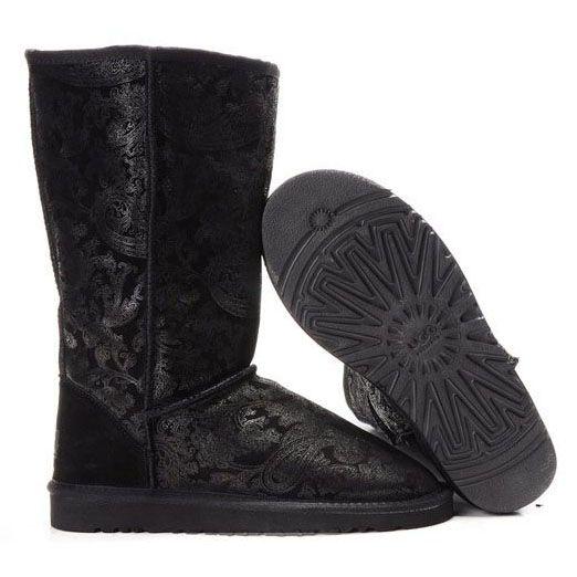 UGG Classic Tall Patent Paisley Boots 5852 Black uggbootshub.com/ugg-boots-