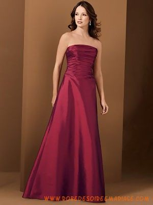 Bordeaux bustier en taffetas robe de demoiselle d'honneur