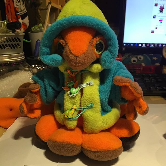This is Monkey, the OctoUgo. In his little hoodie jacket. Ready for a trip outside! #ugo #monkey #fleece #suncatchereyes #monster #plush #orange #blue #green #ravynscreatures #octopus