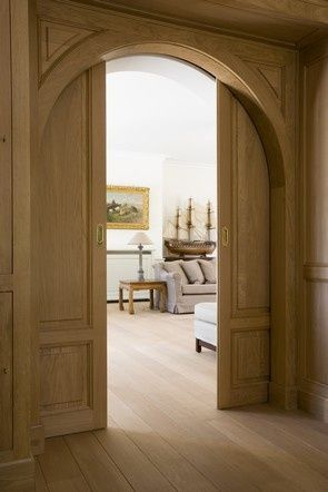 12 Creative and Useful Ideas For Sneaky Storage Horizon Media / a + i architecture Home Office Design Ideas Arched pocket doors. House Design, Arch Doorway, House, French Doors, Arched Doors, Home, Sliding Doors Interior, New Homes, Sliding Door Design