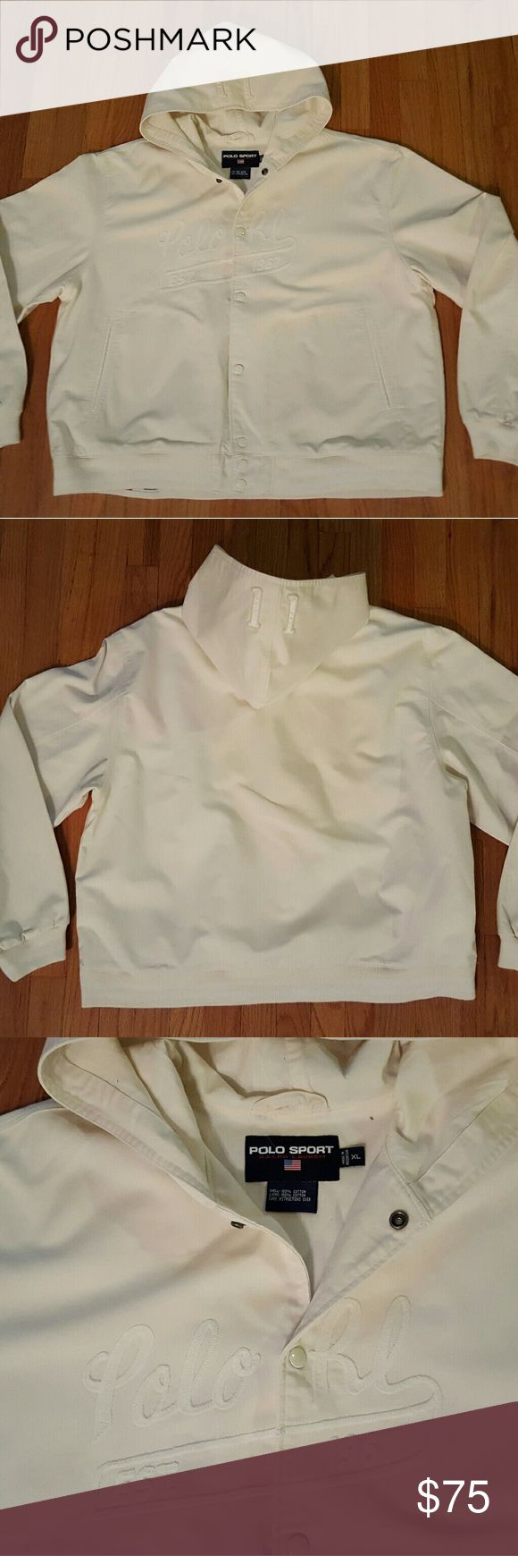 "Vintage Polo Sport Ralph Lauren Hooded Jacket Vintage Polo Sport Ralph Lauren Hooded Jacket. Size XL. Ivory color. Button up front. ""Polo RL"" across front. ""11"" on hood. Perfect used condition. No tears, stains, or smells. Polo Sport Ralph Lauren Jackets & Coats"