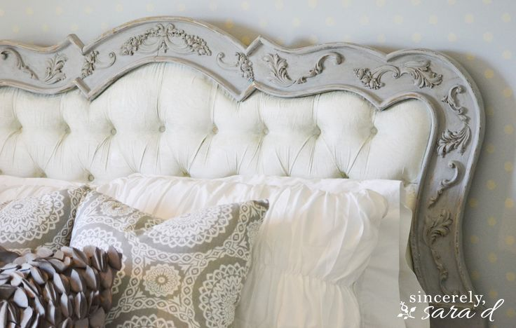 See the before picture of this headboard - it was painted with Annie Sloan Chalk Paint (even the fabric)!