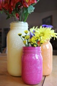 Recycle old glass jars into colorful objets d'art! :-)