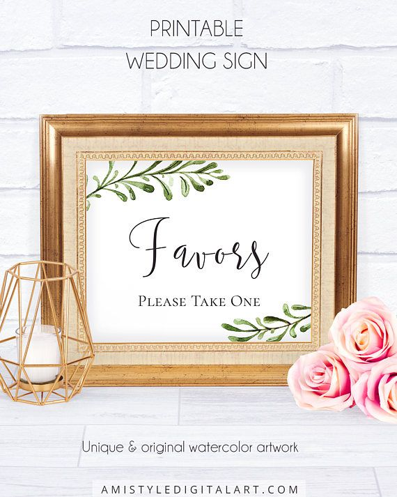 Printable Wedding Favor Sign, with charming and fancy watercolor greenery paintings for the lovers of the sophysticated and vintage style.This stunning wedding signage template is an instant download PRINTABLE PDF pack so you can download it right away and print it at home or at your local copy shop by Amistyle Digital Art on Etsy