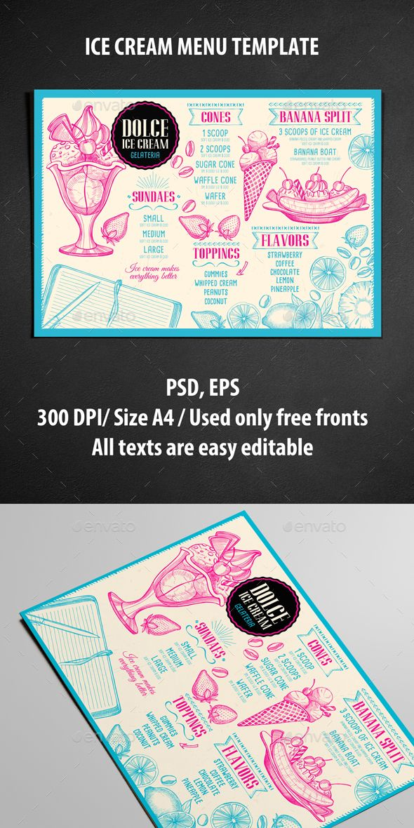 Ice Cream Menu Template PSD, Vector EPS. Download here: http://graphicriver.net/item/ice-cream-menu-template/16472271?ref=ksioks