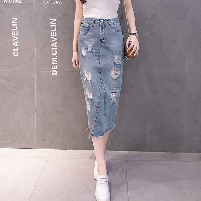 Plus Size Denim Skirt Women 2017 Autumn/Summer Vintage Ripped Denim Skirt Slim Office Skirt Sexy Pencil Skirt Women Jeans