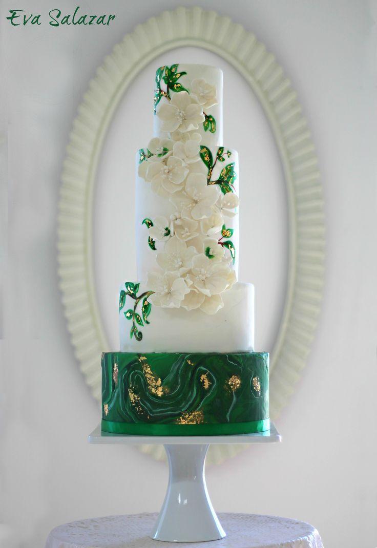 Geode malachite white and green wedding cake