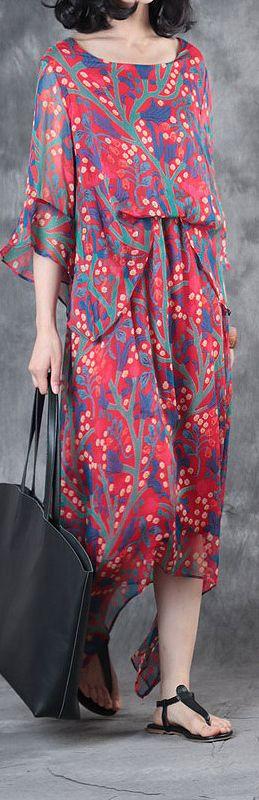 red print stylish cotton dresses plus size asymmetric large hem maxi dress2