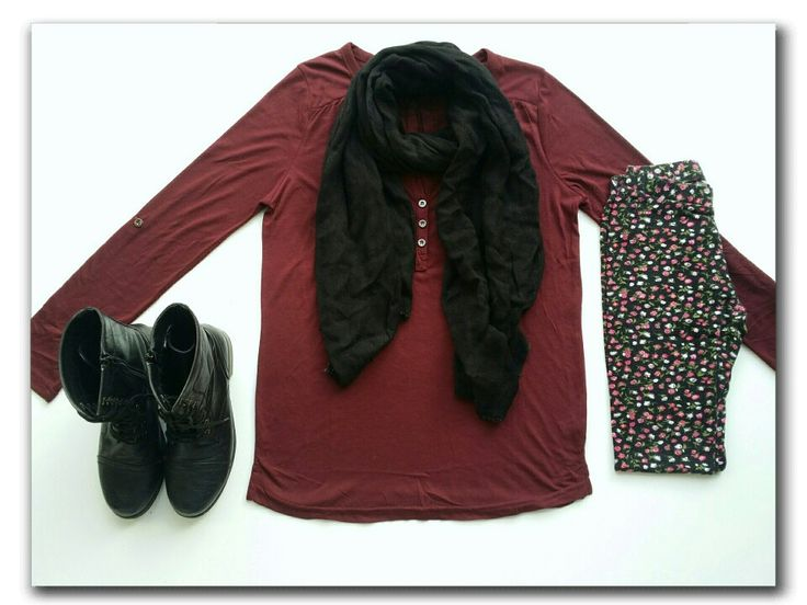 Maroon top, floral leggings, black scarf, combat boots #ootd #fashion #whatiwore #mystyle #mylook #mylookbook #outfitinspiration #fashionflatlay