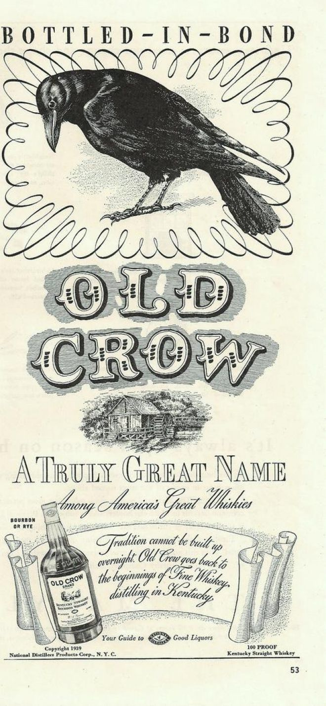 Old Crow Sour Mash Bourbon Whiskey - 1939 ad