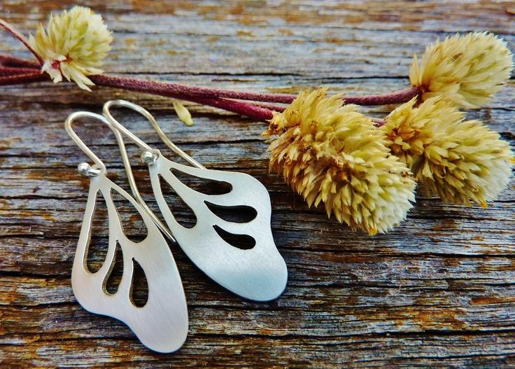 Handmade sterling silver Butterfly Wing earrings from Studio Swoon! Divine...