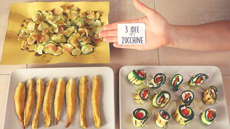3 Idee con le Zucchine - ricette facili - 3 Easy Zucchini Recipes - INGREDIENTI ZUCCHINE STICK: Zucchine, Sale, Pangrattato, Mix di Spezie, Formaggio Grana, Olio Extra Vergine di oliva. - INGREDIENTI ZUCCHINE ROLLS: Zucchine, Sale, Formaggio Spalmabile, Pomodorini, Olio Extra Vergine di oliva. - INGREDIENTI ZUCCHINE CHIPS: Zucchine, Olio Per Friggere, sale