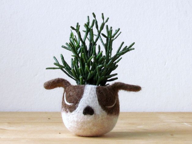 "Animalplanters - Turn Your Flower Pots Into Cute Animals  I present you ""Spotty, the Puppy Planter"", a little something to grow your love :-) For the dog lover in your heart, for the green thumbs..."