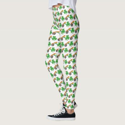 St. Paddy's Day Lucky Pot of Gold Rainbow Shamrock Leggings - gold gifts golden customize diy