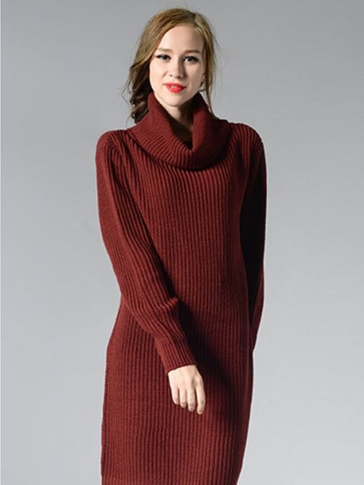 672a8ca496c Vinfemass Solid Color Loose High Neck Knit Sweater Dress in 2019 ...