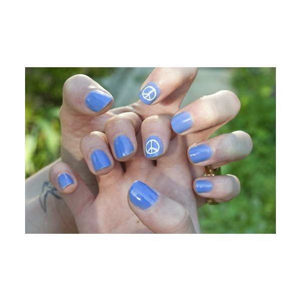 peace sign nails:)  found on Polyvore