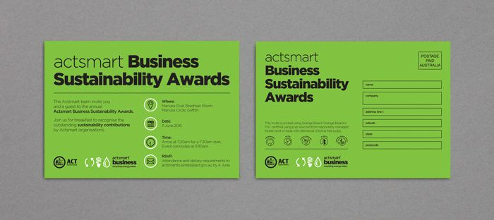 Actsmart Sustainability Awards Invitation http://www.spectrumgraphics.com.au/