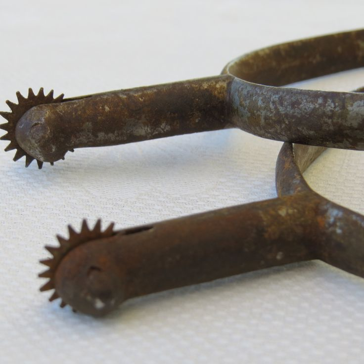 """French Vintage Antique Spurs Matching Pair with Buckles, probably 100 years old or more, Made of iron, numbers """"3594"""" on side by FrenchFlairDeLis on Etsy"""