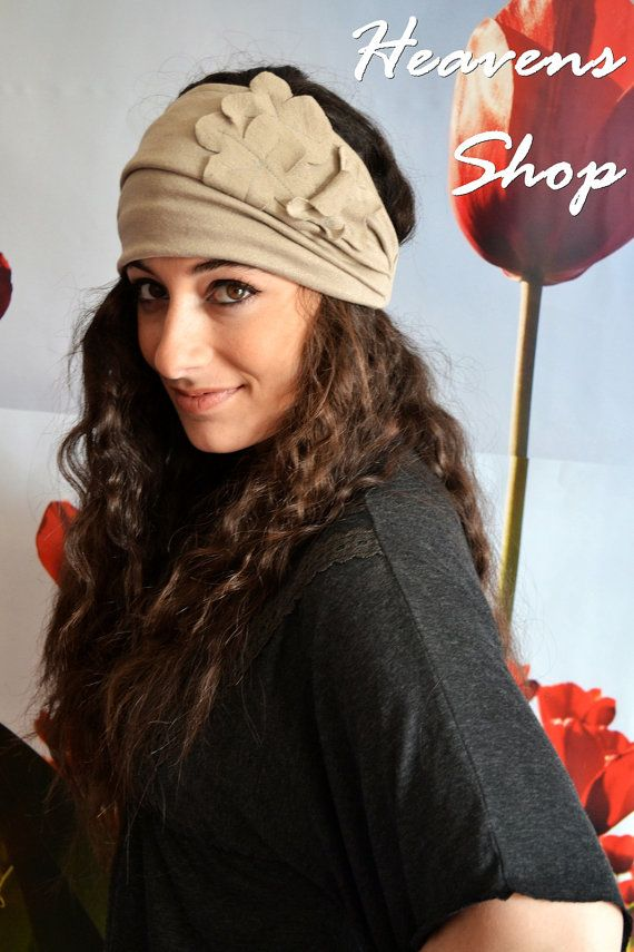 Wide BeigeCream Turban With Flower Appliques by HeavensShop, €16.00