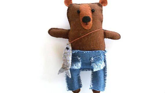 Happy Brown Bear Cute Small Teddy Bear Handmade Felt Bear