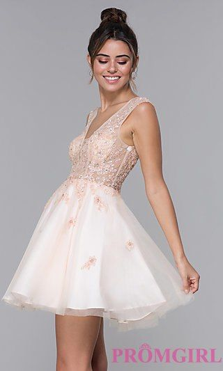 3ab7dfc19edfd JVN by Jovani Embellished Short Homecoming Dress | PromGirl in 2019 ...