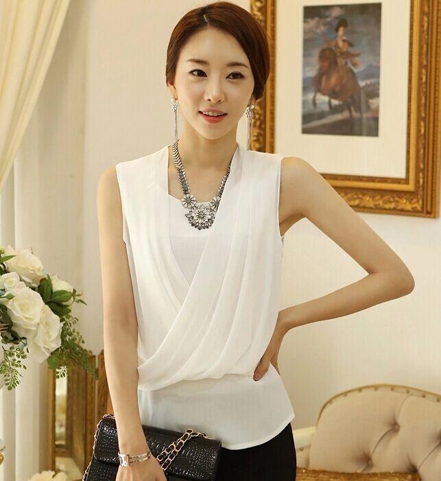 Nuevas mujeres Causal básico del cordón del verano blusa de la gasa blanca sin mangas OL superior camisa de trabajo elegante desgaste suelta más el tamaño S ~ XXL(China (Mainland))