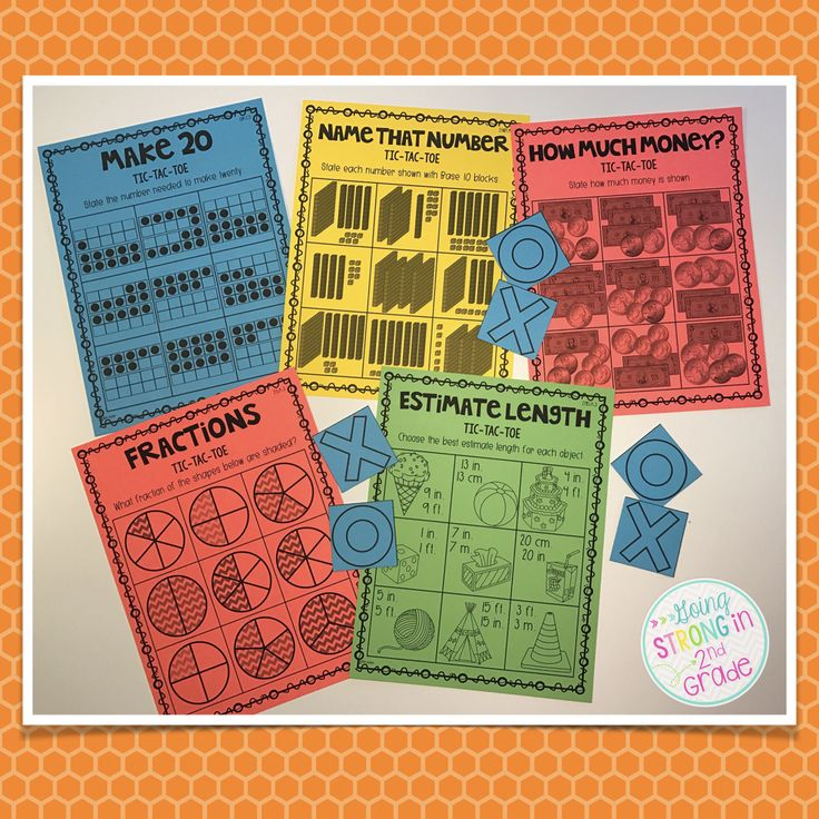 1st & 2nd Grade Math Tic Tac Toe Games - 87 games covering 22 CCSS standards - perfect for math centers or buddy games