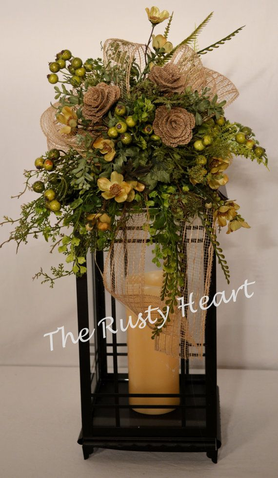 Lantern Swag with Burlap by TheRustyHeart on Etsy