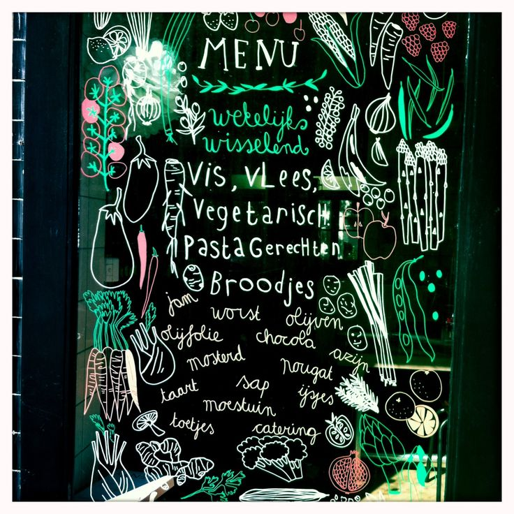 Just loved this shopwindow  painted with a window marker. Inspiring  things around my neighbourhood, Amsterdam.