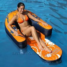 Kona Inflatable Swimming Pool Float Lounge Seat With Cup