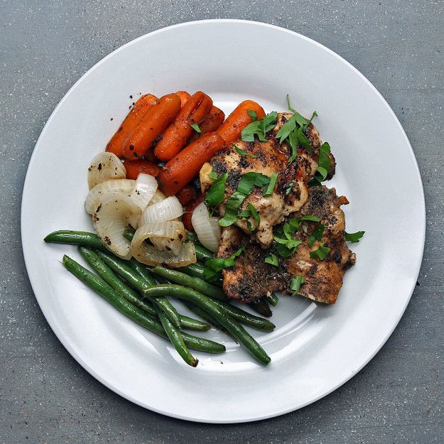 I added mushrooms and it was delicious.  Doesn't need 8 hours for the chicken and carrots though --- and the green beans need way more than 30 minutes.  Chicken/Carrots/Onion/Mushrooms were delicious though! Served over brown rice