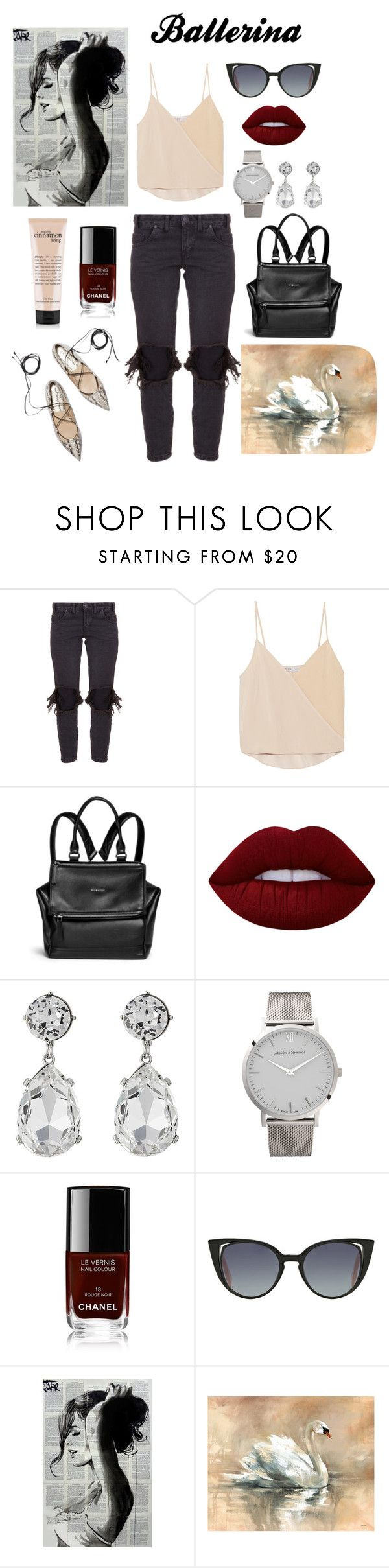 """""""ballerina"""" by evitaom on Polyvore featuring One Teaspoon, Chelsea Flower, Givenchy, Lime Crime, Kenneth Jay Lane, Larsson & Jennings, Chanel, Fendi and Leftbank Art"""