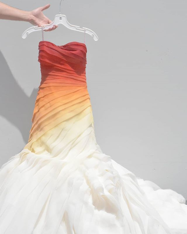 Fire Ombre Wedding Dress Organza Painted Bridal Non Traditional Bride White By Vera Wang Is No Ombre Wedding Dress Orange Dress Wedding Dye Wedding Dress