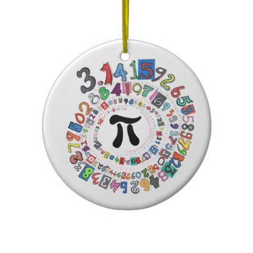 This hand-drawn design features more than 100 digits of pi forming a spiral around the Greek letter. Each digit has its own unique font and style. This ornament makes great gift for any math lover. #pi #math #mathlovers #mathgeeks #ornaments #christmas