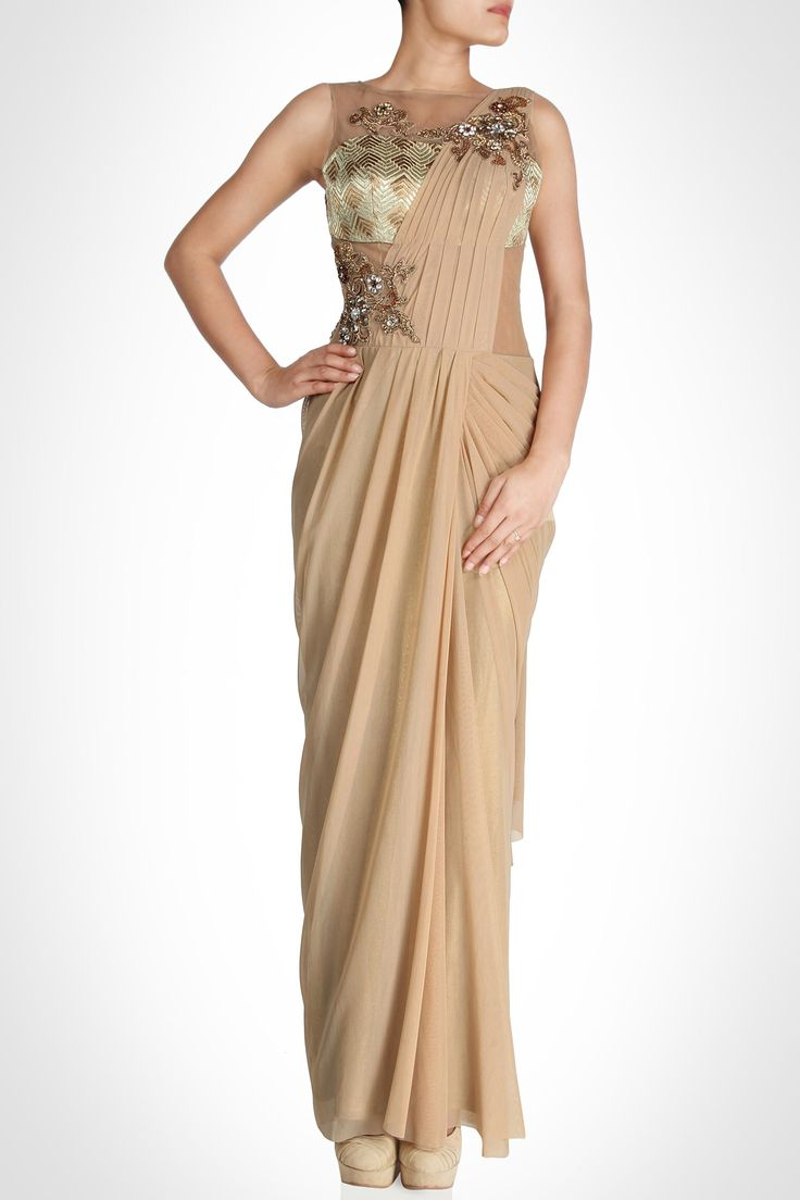 Tan chiffon saree-gown with sheer bodice and bronze and gold detailing