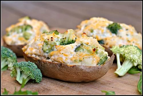 broccoli and cheddar stuffed baked potatoes just