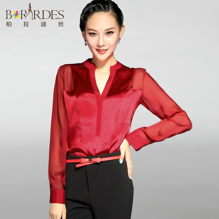 2017 spring summer and autumn style silk shirts women's clothing fashion Long sleeve V-Neck solid button slim silk shirt blouses