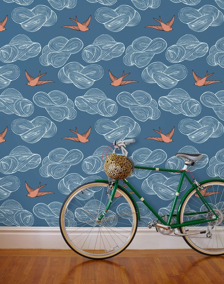 Hand-drawn birds and clouds float in this large scale, modern pattern that mixes a classic design with modern colors. From red and blue to white, grays and metallics, Daydream finds its home in a wide variety of interior spaces.