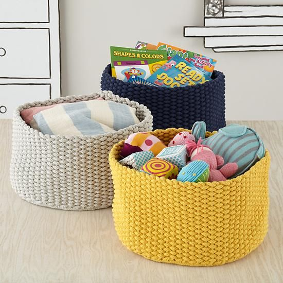 With two boys, you'll definitely need a place for toys. These knit bins hold a ton.