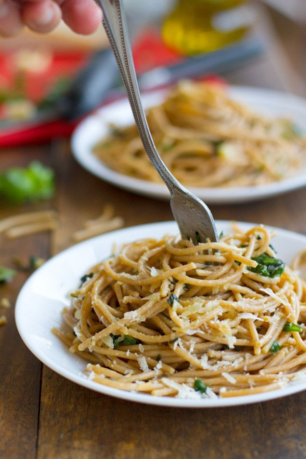This garlic butter spaghetti with herbs is a simple twist on the traditional take.