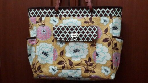 Weekend tote. Joel Dewberry Bungalow Dahlia fabric. Micro suede lining, leather handle.