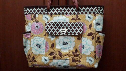 Weekend tote. Joel Dewberry Bungalow Dahlia fabric. Micro suede lining, leather handle.