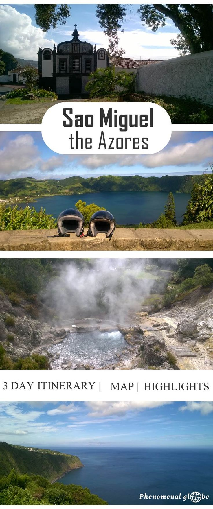 Detailed travel advice for Sao Miguel, a gorgeous and undiscovered island in the Atlantic Ocean! Budget information and 3 day itineraries with map and highlights.