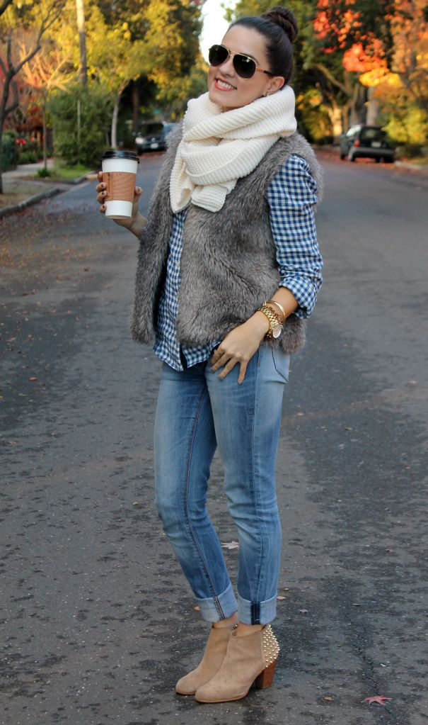 skinnies // gingham buttonup // furry vest // chunky infinity scarf // booties, gold Bracelet Watch