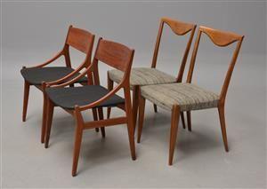Køb stole - danske klassikere, antikke, moderne - 4 Vestervig Eriksen samt dansk møbelproducent; fire spisestuestole (4) - DK, Kolding, Trianglen