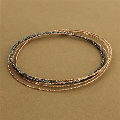 Rose Gold-Plated & Ruthenium-Plated Sterling Silver Sparkle Bangle Bracelet - Fire and Ice. #jewelry